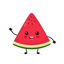 Happy Smilling Cute Watermelon. Vector