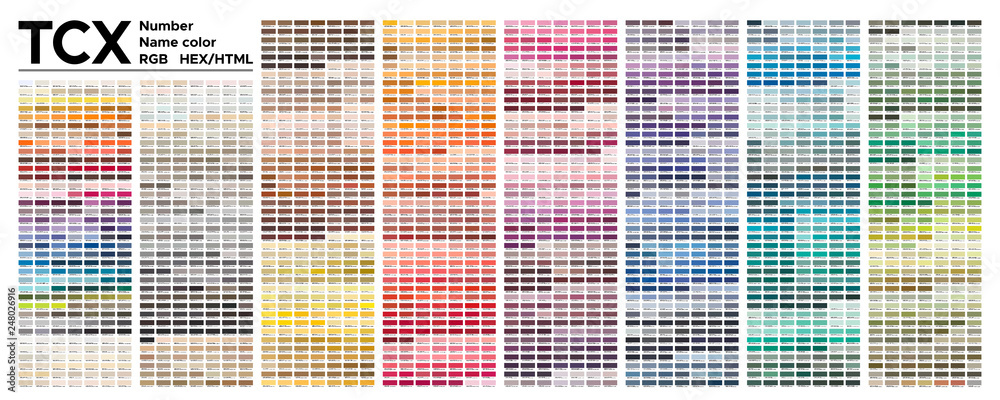 Fototapety, obrazy: Color  table Pantone of the Fashion, Home and Interiors colors.  Vector color palette with number, named color swatches, chart conform to pantone RGB, HTML and HEX description.