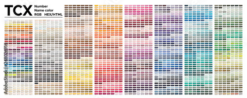 Obraz Color  table Pantone of the Fashion, Home and Interiors colors.  Vector color palette with number, named color swatches, chart conform to pantone RGB, HTML and HEX description. - fototapety do salonu