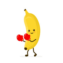 Cute Smiling Strong Banana Fighting