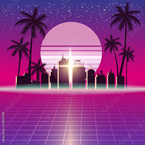 Synthwave Retro Futuristic Landscape With City Palms, Sun, Stars And Styled Laser Grid Wallpaper Mural