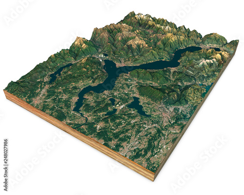 Valokuva  Satellite view of Lake Maggiore, map, mountains and reliefs, split in 3d