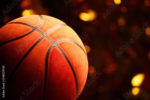Obraz na plátně  basketball ball gold bokeh