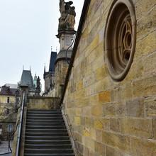 Stairs On Charles Bridge In Prague
