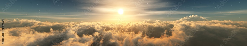 Fototapety, obrazy: Beautiful clouds, panorama of clouds, above the clouds, clouds from above, flying above