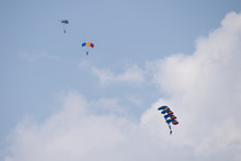 Bucharest Air Show BIAS , Parachuter Jumping From The Plain