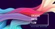 Modern colorful flow poster. Wave Liquid shape on dark blue color background.