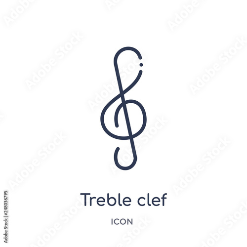Fotografia treble clef icon from music and media outline collection