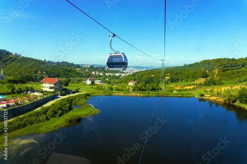 View of the Dajti Express cable car and lake in Tirana, Albania. Canvas Print