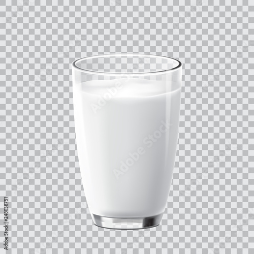 Realistic crear glass of milk isolated on transparent background Tapéta, Fotótapéta