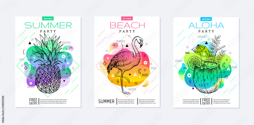 Fototapety, obrazy: Rainbow geometric style. Disco light fluid art. Memphis prism summer poster set. Amoeba trendy background. Realistic tropic pineapple, flamingo, coconut drink for t-shirt print, music banner on white