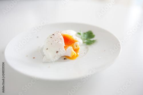Fototapeta Fried egg poache pan meal recipe healthy food concept obraz