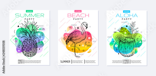 Obraz Rainbow geometric style. Disco light fluid art. Memphis prism summer poster set. Amoeba trendy background. Realistic tropic pineapple, flamingo, coconut drink for t-shirt print, music banner on white - fototapety do salonu
