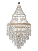 Handmade Chandelier From Thousands Of Seashells On A White Background.