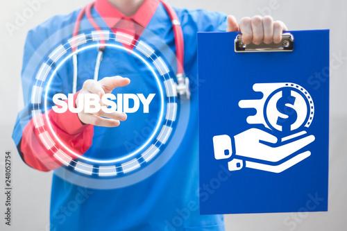 Fotografía  Subsidy health care. Financial medical government help concept.