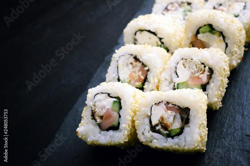 Sushi Rolls Sprinkled With Sesame Seeds Ingredients Eel