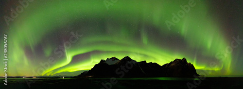 Recess Fitting Northern lights Panoramic of the Northern Lights over Vestrahorn Mountain at Stokksnes peninsula in Southeast Iceland