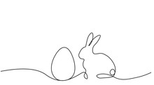 Easter Background Bunny Rabbit And Egg, One Lines Drawing Vector Illustration.