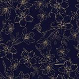 Okwitnięcie gałąź złote jabłko kwitnie na błękitnym tle. Piękne kwitnące kwiaty. Wzór Sacura. Karta z pozdrowieniami lub zaproszeniami. Ilustracji wektorowych. - 248057762
