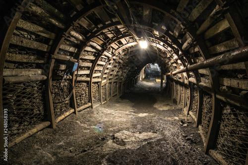 Fototapeta Illuminated, Underground Tunnel in the Mine