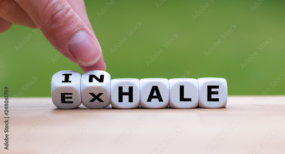 Fototapeta Inhale,Exhale concept. Hand turns dice and changes the word