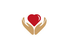Heart Between Hands Care Human Health And Nature For Logo Design