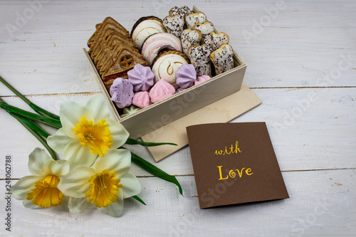 Fotografie, Obraz  Box of sweets on a white background