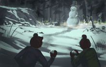 Two Kids In Winter Clothes Throwing Snowballs At A Dangerous Evil Snowman Creature - Digital Fantasy Illustration