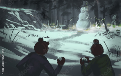 Cuadros en Lienzo Two kids in winter clothes throwing snowballs at a dangerous evil snowman creatu