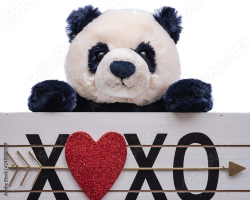 Stickers pour portes Panda Isolated on white background stuffed plush Panda Bear toy is holding a Heart XOXO hugs and kisses wooden sign. Valentine's Day.
