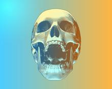 Colorful Screaming Skull On Gradient BG