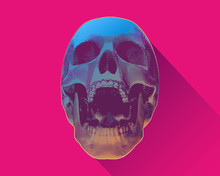 Screaming Skull With Light And Shadow On Colorful BG