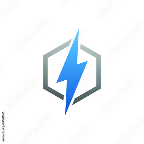 Obraz modern electrical blue lightning bolt logo - fototapety do salonu