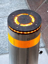 Automatic Retractable Bollard With Glowing Lights For Control Of Road Traffic And Parking