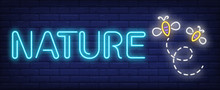 Nature Neon Text With Flying Bees