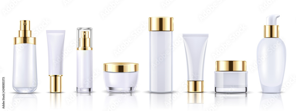 Fototapeta Set gold cosmetic bottles packaging mockup, ready for your design, vector illustration.