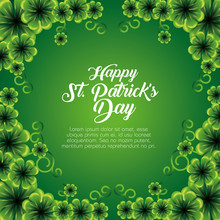 St Patrick Card With Clovers P...