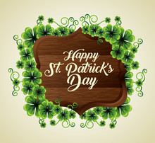 Clovers Plants With Wood Emblem To St Patrick Event