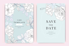 Wedding Invitation, Floral Invite Thank You, Rsvp Modern Card Design In White Rose Vector Elegant Rustic Template