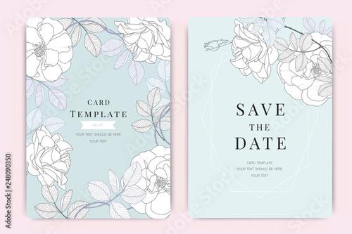 Obraz na płótnie Wedding Invitation, floral invite thank you, rsvp modern card Design in white ro