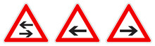 Warning - Single/two Way Traffic Sign. Black Arrow In Red Triangle, Version With Arrow Pointing Left, Right And Both Ways.