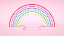 Colorful Rainbow And Pedestal. Abstract Background - 3D Illustration