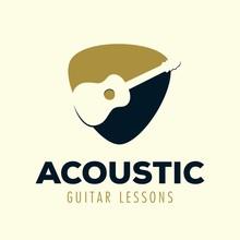 Acoustic Guitar Lessons Logo Template Design Inspiration