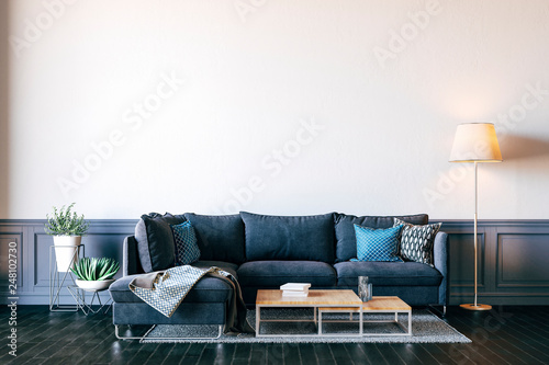 Valokuva  3d render of beautiful interior render with sofa and white wall