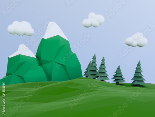 Foto auf AluDibond Grun mountain background ,3d render