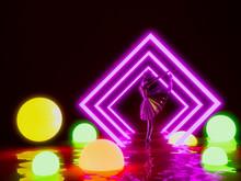 Ballerina Doll In Neon Lighting Ball  Background ,3d Render