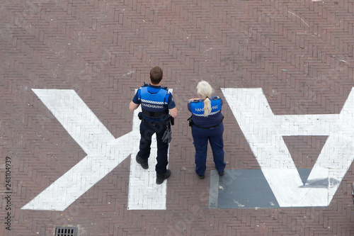 Fotomural  Law enforcement officers on scooters in Leeuwarden,  the Netherlands 2018