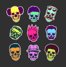 Vector Set Of Skulls With Haircut And Mustache In Crown, Hat, Sunglasses, Sticker Pack Isolated On Background
