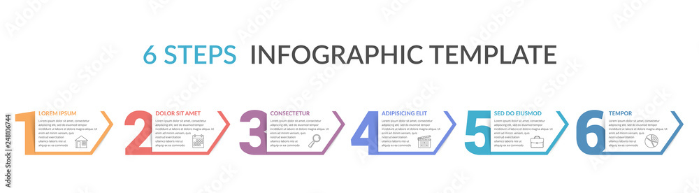 Fototapeta Six Steps Infographic Template