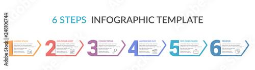 Fototapeta Six Steps Infographic Template obraz